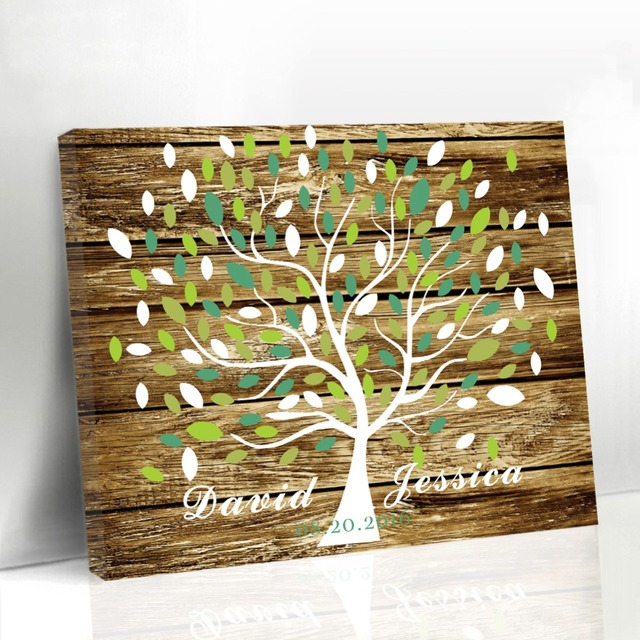Wedding Guest Book Ideas Diy: Personalized Unique Wedding Leaf Tree Wood Frame Guestbook