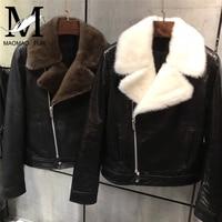 Женская зимняя тонкая куртка норковый меховой воротник натуральная кожа куртка осень весна женская черная овчина пальто