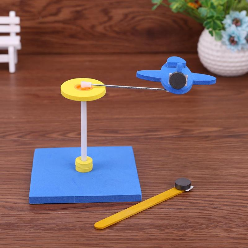 Children Kids Students Magnet Repulsive Force Rotating Toy Plane Handmade DIY Parts Intellectual Science Popularization Toy Gift