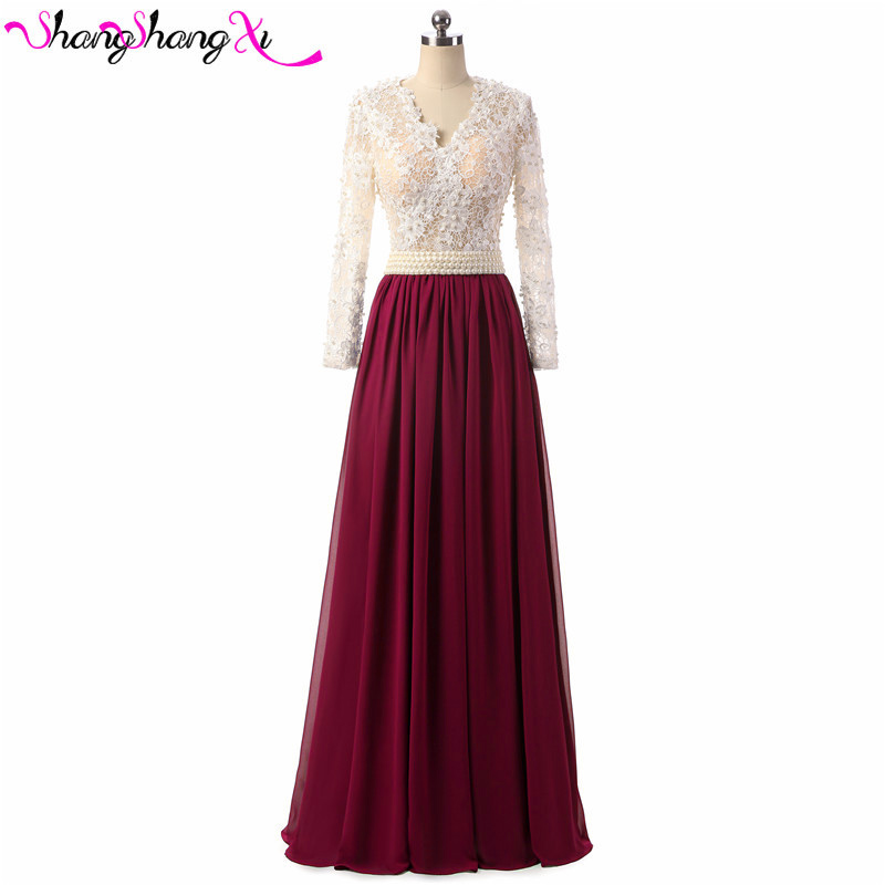 Burgundy Buyers show robe de soiree A Line Long Evening ...