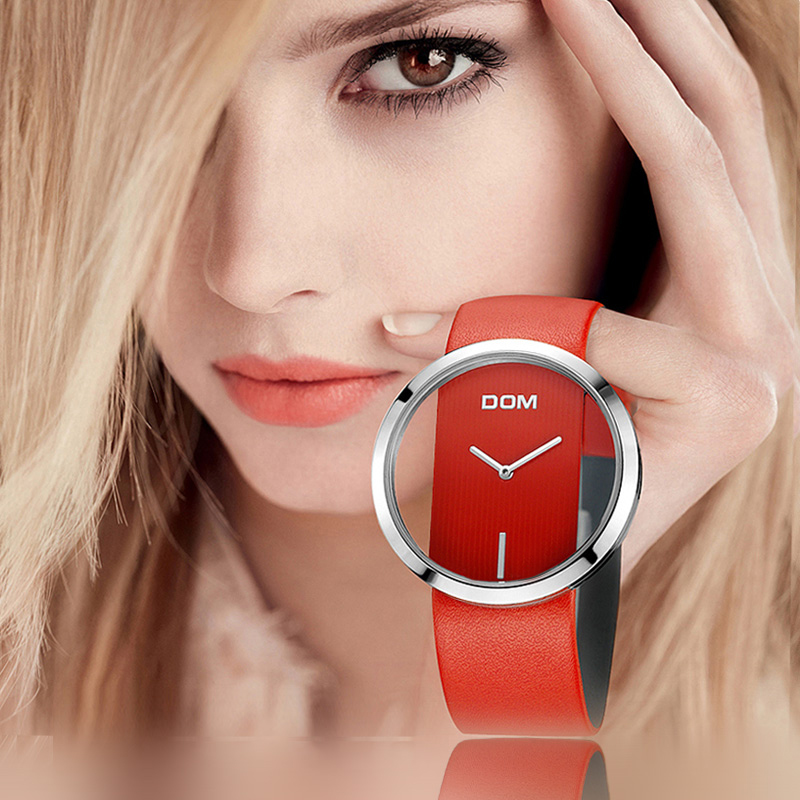 Ver mujeres DOM marca de lujo de moda Casual de cuarzo único elegante Hollow esqueleto relojes de deporte de cuero de dama relojes pulsera 205L