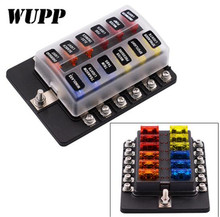 купить WUPP 12 Way Circuit Car Fuse Box Waterproof 12V 32V Terminal Fuse Box Block Auto Car Fuse Holder With Led Indicator Sticker дешево