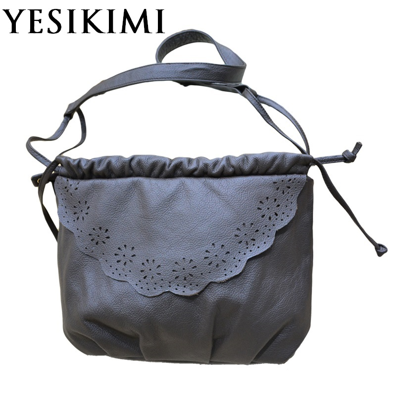 2017 New Women Messenger Bags Soft Natural Genuine Leather Hobos Bag Vintage Handmade Hollow Out Flower