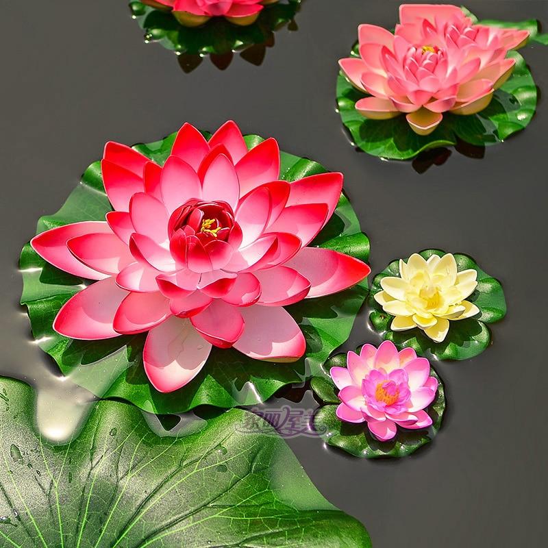 Jauns 1PCS / partijas augstas kvalitātes 28 cm mākslīgais zīda burbulis ziedu pušķis kāzu dekorēšana zivju tvertne peldošā lilija lotosa