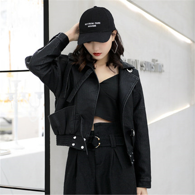 Fashion PU   Leather   Women Short section 2019 Spring Autumn New Korean   Leather   Jacket Loose Coats motorcycle Female tops V481