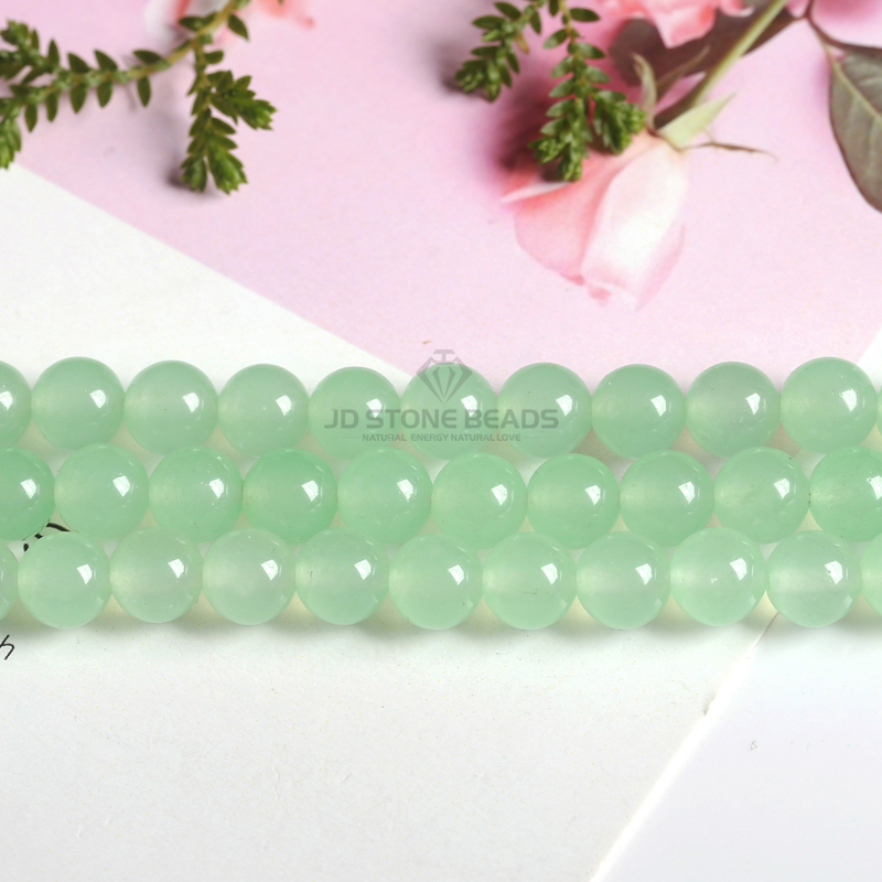 Natural Stone Green Aventurine Light Color Round Loose Beads Accessory 15