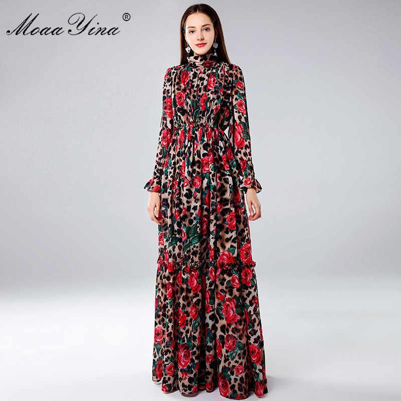 MoaaYina Модные Дизайнерские макси платья женские с длинным рукавом сексуальный леопардовый принт роза цветочный Элегантное Длинное вечерние Вечеринка праздничное платье