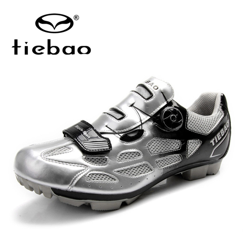 ФОТО Tiebao Cycling Sport Mountain Biking Shoes Self-Locking Breathable Athletic Cycling Shoes Unisex MTB Cycling Shoes Silver