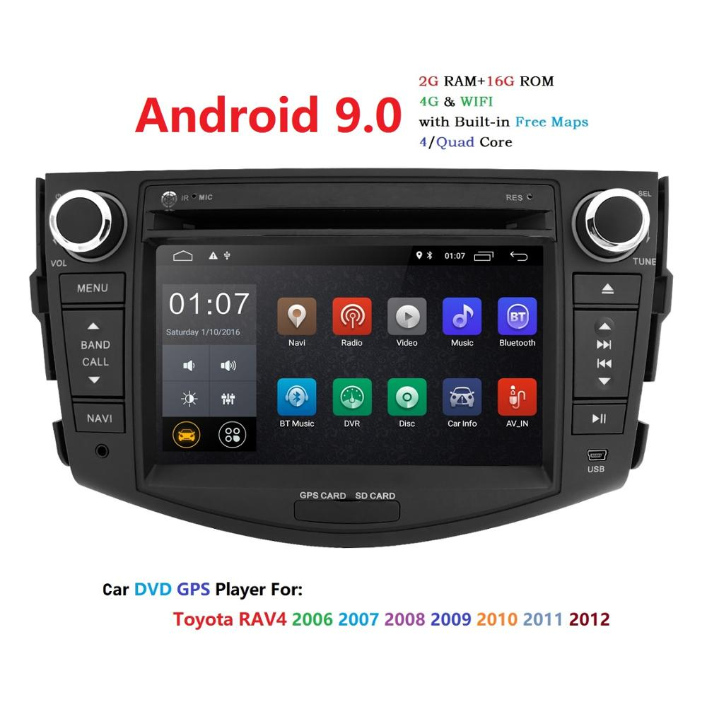 Hizpo NEW !!!Android 9.0 car dvd player for Toyota RAV4 <font><b>Rav</b></font> <font><b>4</b></font> 2007 2008 2009 2010 <font><b>2011</b></font> 2 din 1024*600 car dvd gps wifi rds TPMS image