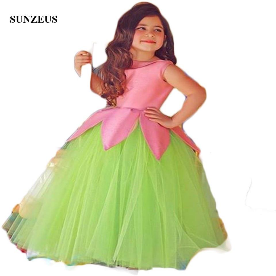 Saudi Arabic Flower Girls Dresses O Neck Ruched Ball Gown Green
