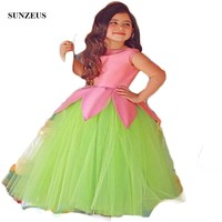 Saudi Arabic Flower Girls Dresses O Neck Ruched Ball Gown Green Mother Daughter Gowns Girls Pageant Party Dresses S1522
