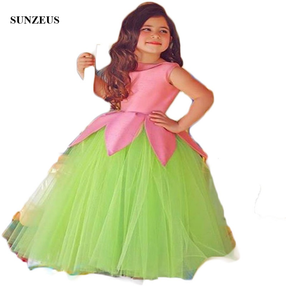 Saudi Arabic   Flower     Girls     Dresses   O-Neck Ruched Ball Gown Green Mother Daughter Gowns   Girls   Pageant Party   Dresses   S1522