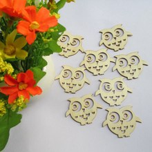 Free shipping 4.8*3.8cm100pcs/bag wholesale high quality  owl die cutting Angle wooden Christmas decorations 017012005