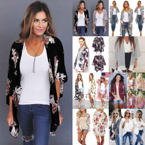 UK Boho Womens Long Sleeve Lace Floral Kimono Cardigan Ladies Casual Jacket Tops