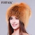 FUETALK todo o conjunto de luxo pele de raposa chapéu de pele das mulheres de inverno chapéu chapéu de pele de moda para as mulheres