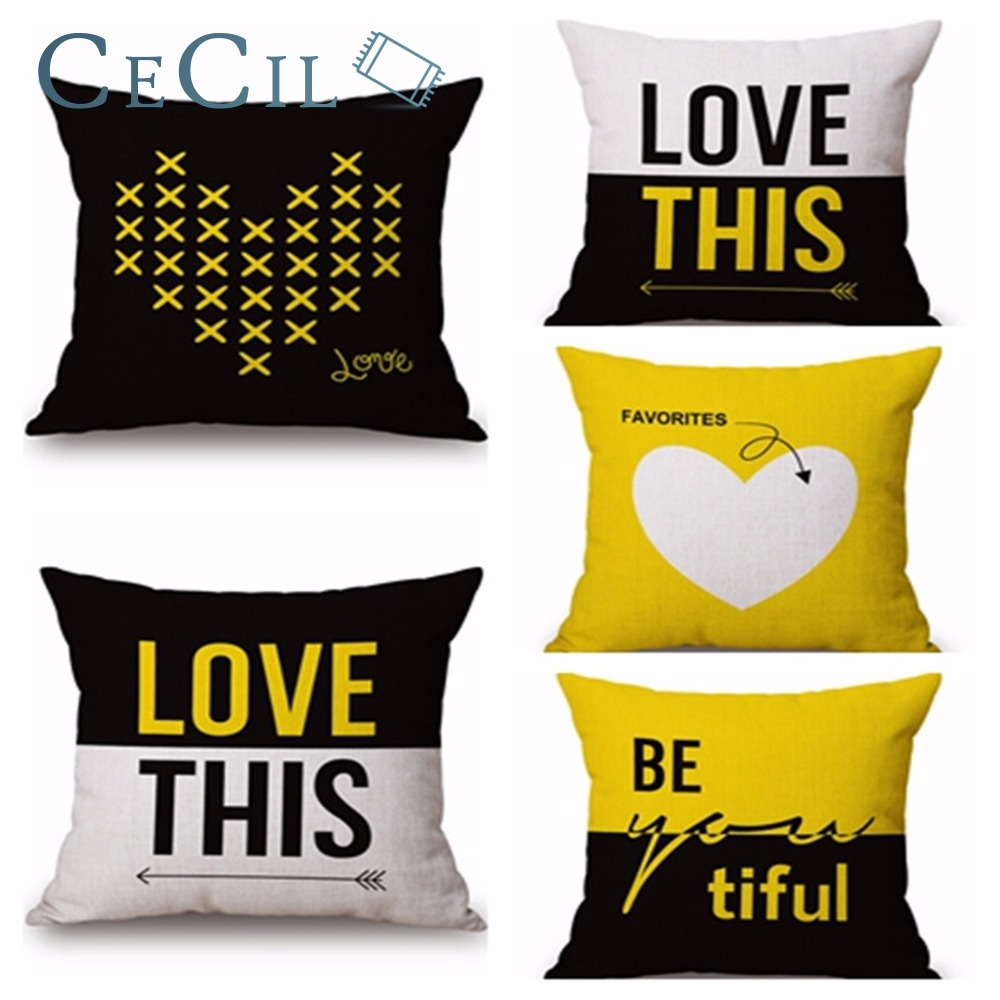 Cojines Nordicos Us 4 32 Love Geometric Black Yellow White Cushion Cover Simple Cojines Nordicos Cotton Linen Pillow For Sofa Officehome Decor Pillowcase In Cushion