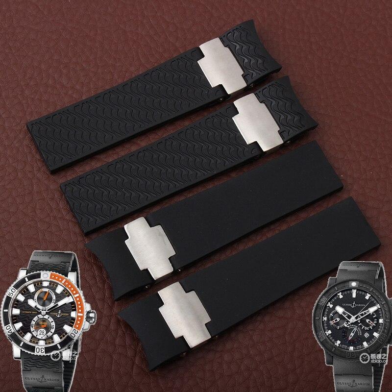 Waterproof rubber strap 22MMblack blue brown watch belt for Ulysse Nardin DIVER men s font b