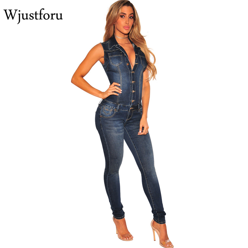 Wjustforu Summer Patchwork Denim   Jumpsuit   Sexy Bodycon Sleeveless Full Body Feminino Elegant Button Rompers Womens   Jumpsuits