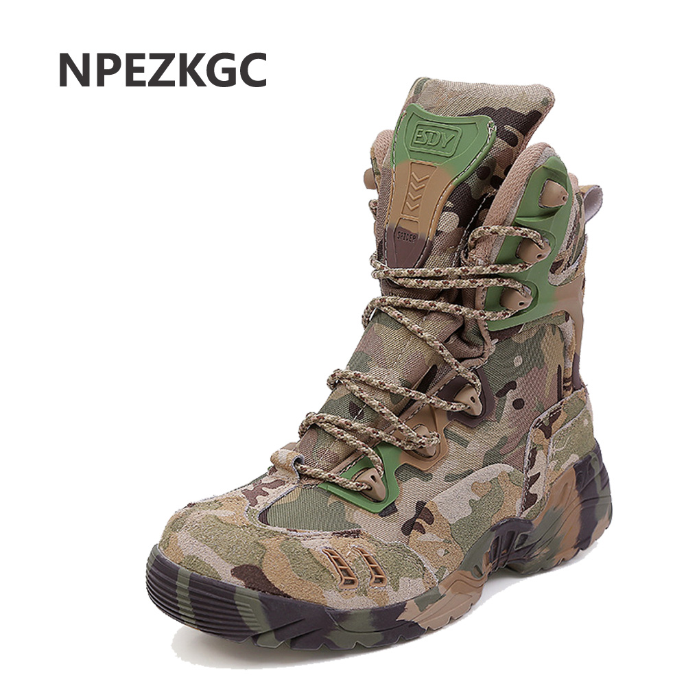 NPEZKGC Military Tactical Combat Outdoor Army Men Boots Desert Botas Hiking Autumn Shoes Travel Leather High Boots Male