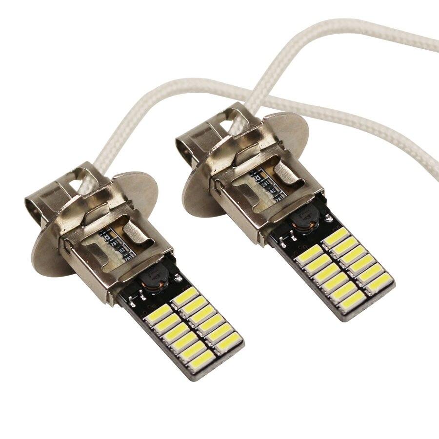 YCCPAUTO 2 шт. 24 SMD 4014 H3 светодиодные противотумансветильник ры 6500K белый светодиодный источник светильник для автомобиля противотумансветильни...