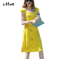 IHOT La La Land Emma Stone 2017 Woman Sexy Elegant Summer Floral Print Casual Pin Up