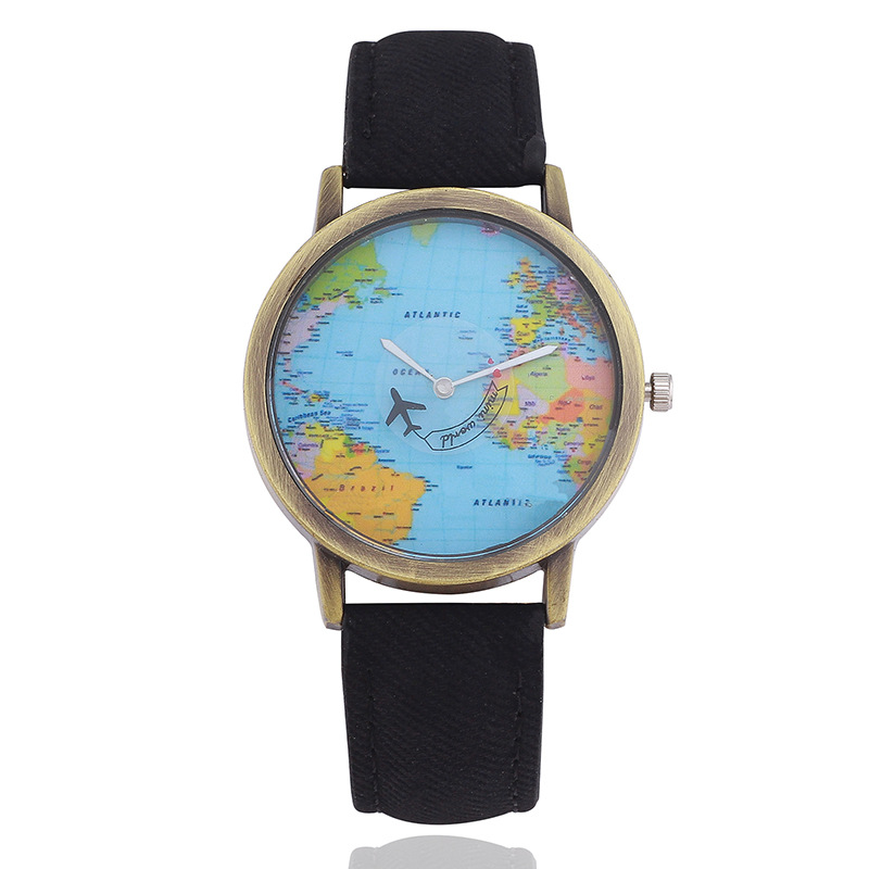 Fashion Brand Wrist Watch Men&women Belt Student Quartz Watch Creative Map Aircraf Watch Low Price High Quality Dropshipping!!