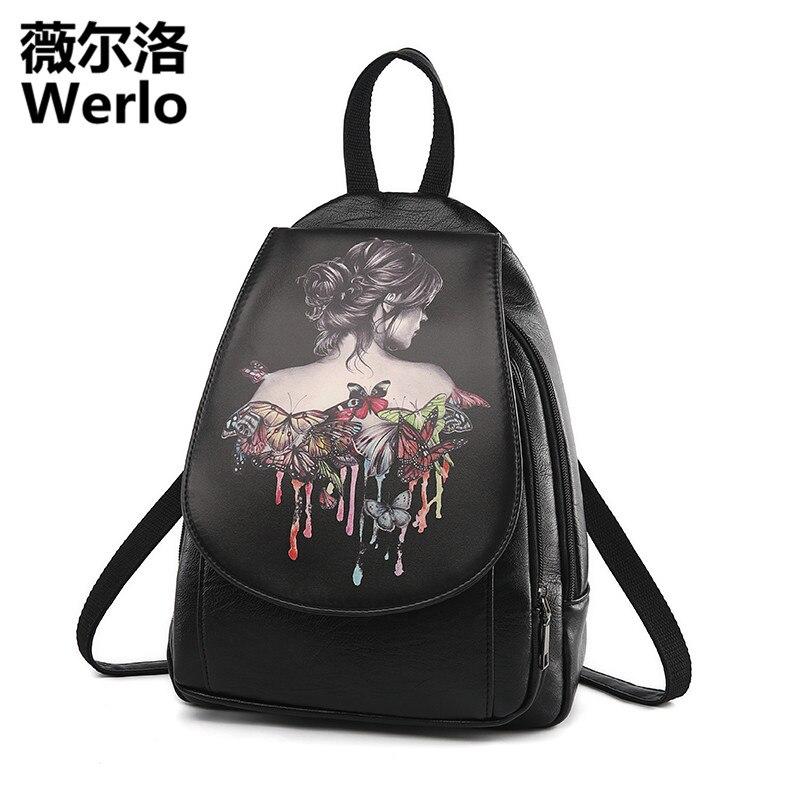 WERLO Brand Designer Women Backpacks Luxury Lesther Girl s School Bag Fashion Female Printing Backpack mochila