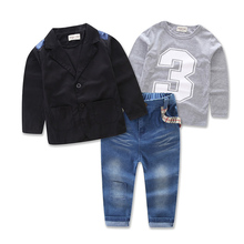2018 Autumn Winter New Boys Clothing Sets Suit + T-Shirt + Jeans 3pcs Suits Denim Casual Clothing Kids Long-sleeved Coat new girls v neck strap dress hot long denim jeans two pieces suits shirt dress kids clothing sets white stripe button