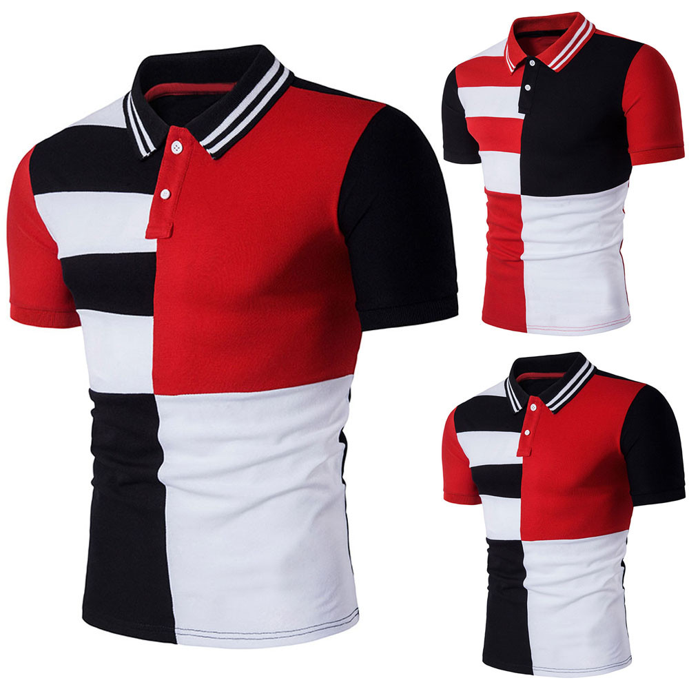 2018 New Hot Mens Slim Sports Short Sleeve Casual Polo Shirt T-shirts Tee Tops For Male Wholesale Drop Shipping
