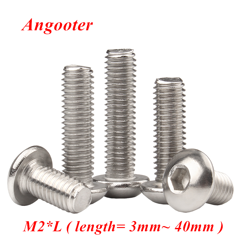 50pcs <font><b>M2</b></font> Bolt A2-70 iso7380 Button head socket <font><b>screw</b></font> bolt sus304 stainless steel hex allen socket <font><b>screw</b></font> <font><b>M2x3</b></font>/4/5/6/8/10/12/16/20 image