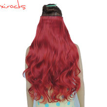 цена на 2 Piece Xi.Rocks 5 Clip in Hair Extension 70cm Synthetic Barrettes Clips Extensions 120g Curly Hairpin Hairpiece Rose Red 130M