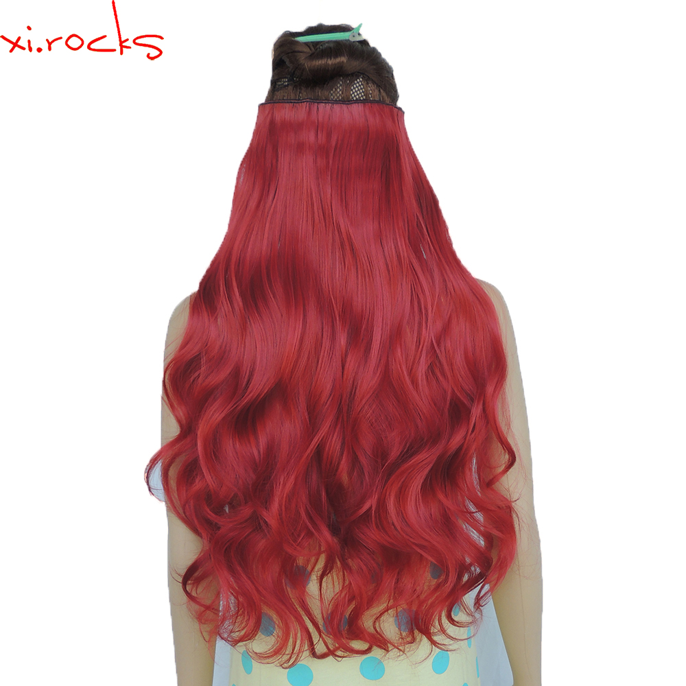 2 Piece Xi.Rocks 5 Clip in Hair Extension 70cm Synthetic Barrettes Clips Extensions 120g Curly Hairpin Hairpiece Rose Red 130M