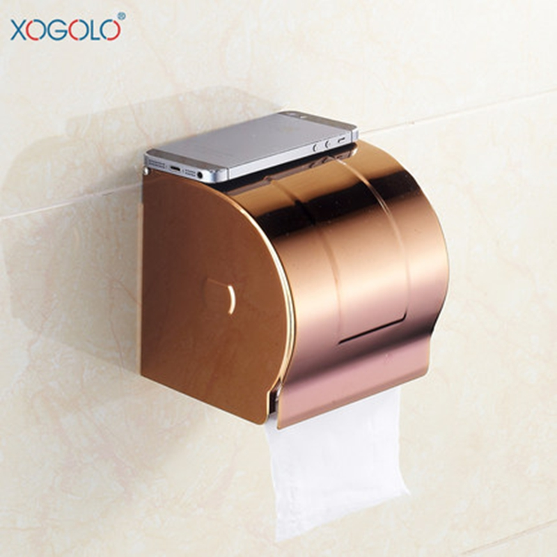 Xogolo Stainless Steel Modern Wall Mounted Rose Gold Waterproof Bathroom Toilet Paper Towel Holder Roll Holder High QualityXogolo Stainless Steel Modern Wall Mounted Rose Gold Waterproof Bathroom Toilet Paper Towel Holder Roll Holder High Quality
