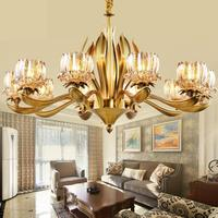 Italy style Grand Church Chandelier Hotel fixtures lighting Wedding Decoration suspension Copper Lamp crystal shade chandeliers