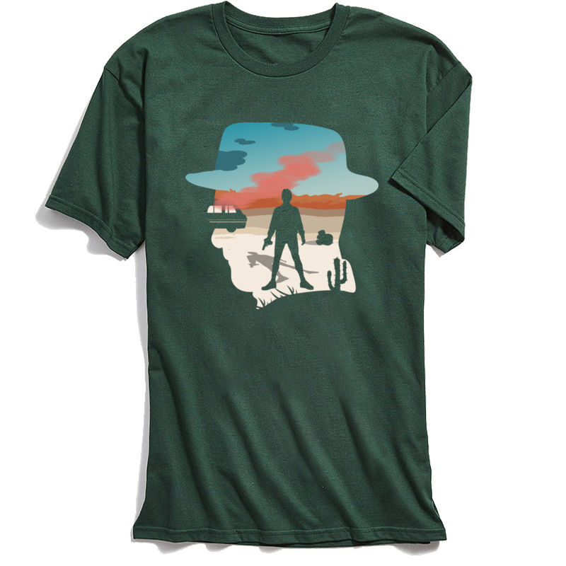 Breaking Bad T shirt Men Gift Tops Shirts 100 Cotton Young T Shirt Heisenberg Silhouette TShirt On Sale Military Green Clothing in T Shirts from Men 39 s Clothing