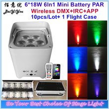 6pcs*18w RGBWAUV 6 In 1 LED Battery Wireless DMX PAR Wash Light With Remote And Phone APP Wifi Control Charging Flight Case