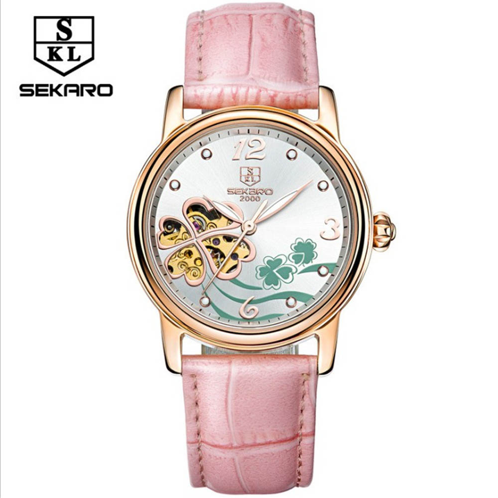 SEKARO Brand Fashion Casual Watches Women Skeleton Automatic Mechanical Wrist Watches Pink Leather Belt Band Relogio femininos shenhua brand women watches skeleton mechanical watch white leather band ladies simple fashion casual clock relogio femininos