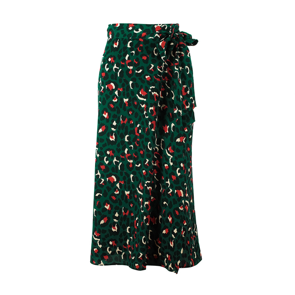 Vintage Leopard Print Long Skirts Women High Waist Midi Skirt Bow Tie Summer Sexy Split Wrap Ladies Green Skirt#YL1
