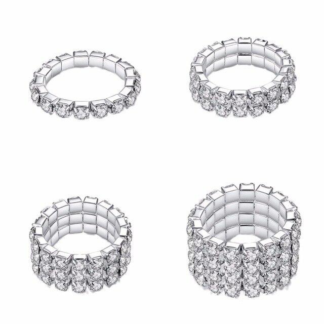 1pcs Hot Sale Fashion Style Elastic Silver Tone 3 Row Crystal Rhinestone  Finger Ring Toe Ring Bridal Jewelry  258563 c2299b464ac4