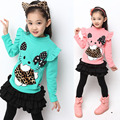 2016 Hello Kitty Sweatshirt Fashion Plus Velvet Long Sleeve Children Hoody Retail 3-6T Fall&Winter Princess Girls T-shirt c25