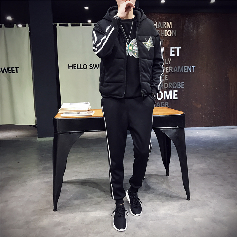 Men Tracksuit Sport Warm Suit Thick Fleece Hoodies Sport Coat Vest+sweater+pants Sportswear Male Running Jogging Casual Set 3pcs brand 2017 hoodie new zipper cuff print casual hoodies men fashion tracksuit male sweatshirt off white hoody mens purpose tour