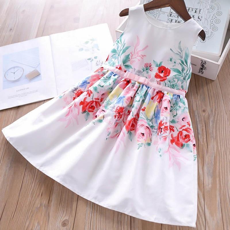 2019 Summer Girls Color Flowers Waist Bow Knot Dress Children s Vest Dresses Wholesale
