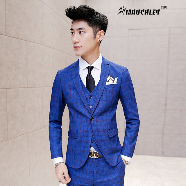 Royal Blue Mens Suit Fashion Plaid Prom Suits 3 Pieces (Jacket + Vest +  Pants) Wedding Suit for Men Slim Fit Boys Tuxedo Dress 270c84eee0f4