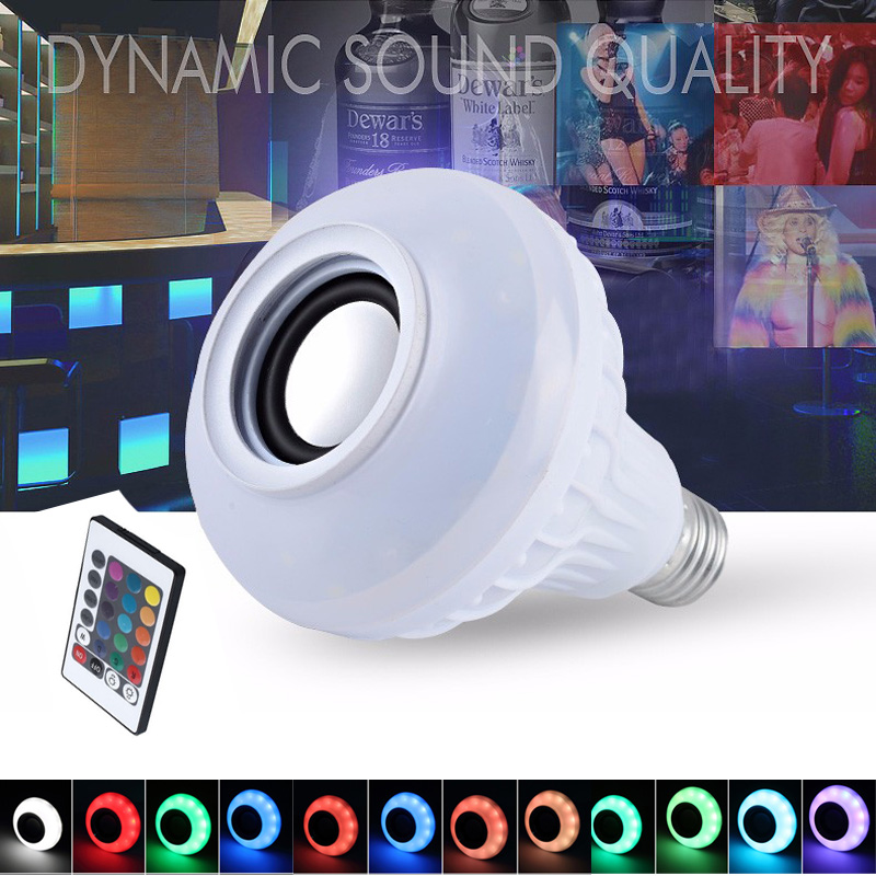 LED lamp RGB 12W Power E27 110V 220V Bluetooth Speaker LED Light Music Playing with Remote Control Lampada Led Bulb AC100-240V smuxi e27 led rgb wireless bluetooth speaker music smart light bulb 15w playing lamp remote control decor for ios android