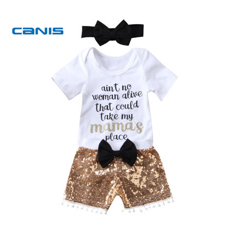 Lovely Baby Girl Boy Set Clothes 2018 Letter Romper Sequins Pants Headband 3Pcs Outfits Set Clothes Summer baby girl 1st birthday outfits short sleeve infant clothing sets lace romper dress headband shoe toddler tutu set baby s clothes