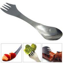 การออกแบบ 3 In 1 Kitchen Tableware Sporksสแตนเลสส้อมช้อนก๋วยเตี๋ยวสลัดผลไม้บนโต๊ะอาหาร