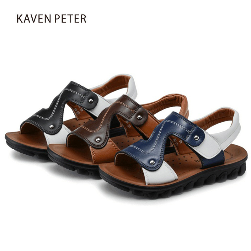 Image 2 - 2018 childrens summer genuine cow leather beach sandals baby fat casual sandals boys shoes Orthopedic footwear for kids-in Sandals from Mother & Kids on AliExpress