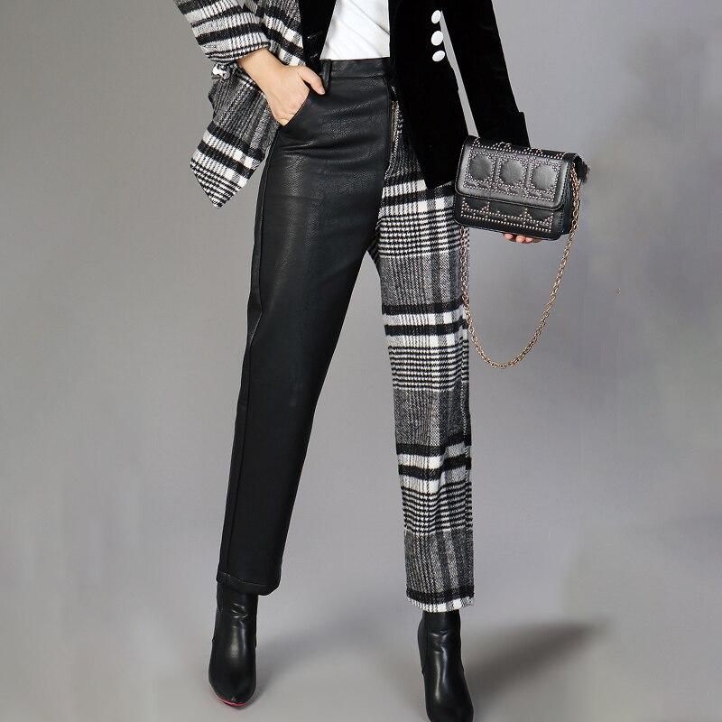 Kadın Giyim'ten Pantalonlar ve Kapriler'de MIAOQING PU Deri Pantolon Kadınlar Için Yüksek Bel Hit Renkler Asimetrik Patchwork Ayak Bileği Uzunluğu Yün Pantolon Kadın 2019 Bahar'da  Grup 2