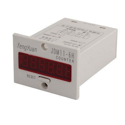 JDM11-6H Resettable 6-Digits LED Display Panel Digital Counter AC 110-220V cg8 digital counter ac 110 220v