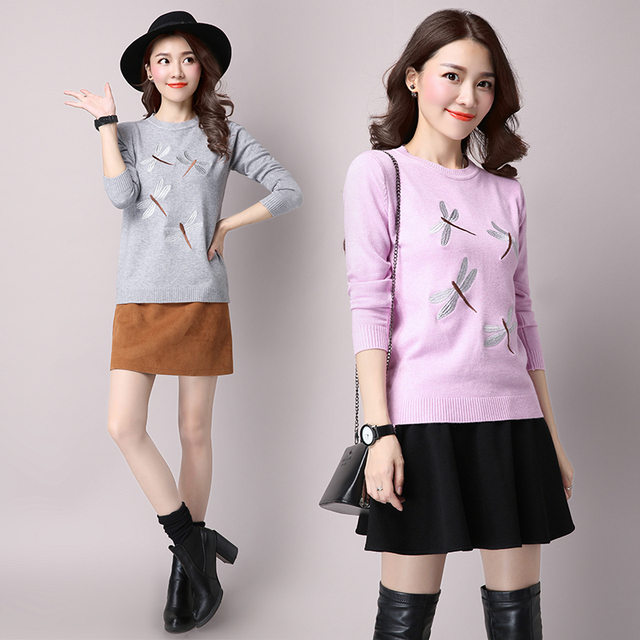 Hiqh quality European Style New Fall Winer Women Butterfly embroidered luxury wool knitting sweater Warm Casual Pullover tops